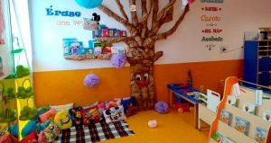 Árbol de papel adornando la pared de la clase de 1 año